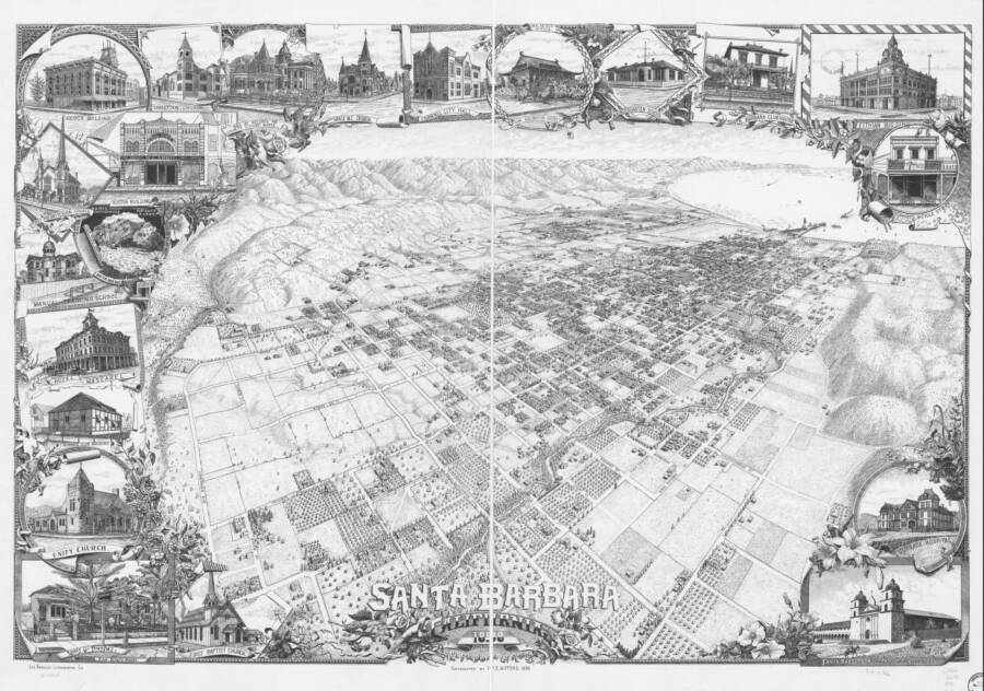 Illustrated Panoramic Maps Santa Barbara California 1898