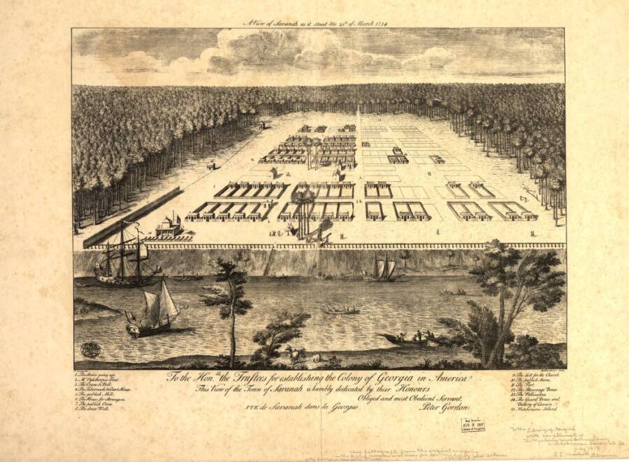 Illustrated Panoramic Maps Savannah Georgia 1734