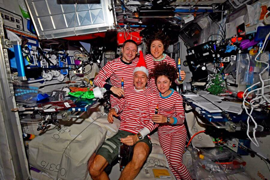 Iss Crew In Holiday Gear