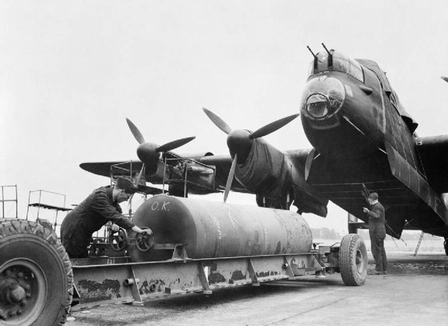 Lancaster Bomber Being Loaded During W W 2