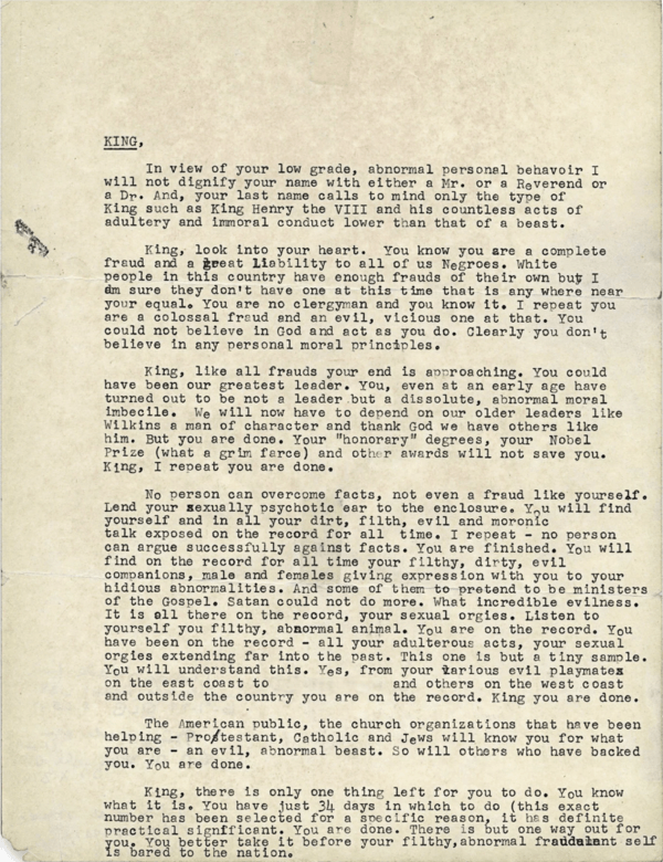 FBI Letter Sent To Martin Luther King