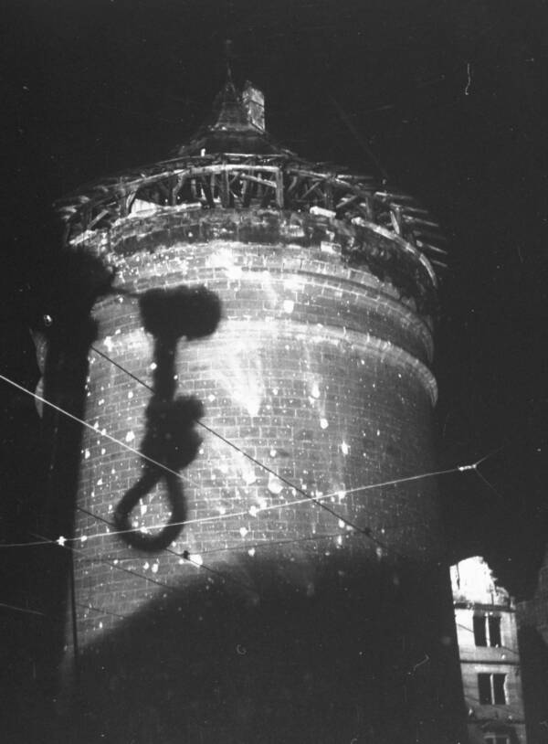 Noose Casts A Shadow On Brick Watchtower At Nuremberg During War Crime Trials
