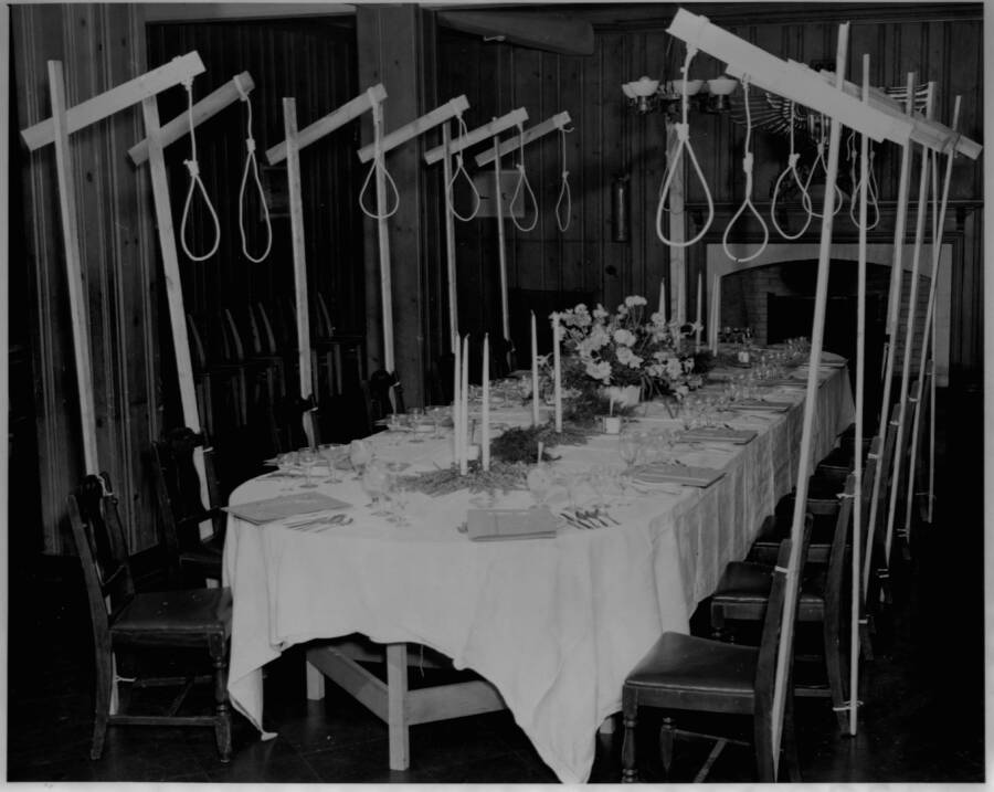 Nooses Over The Seats Of The Dining Table Of Condemned Nazis At Nuremberg