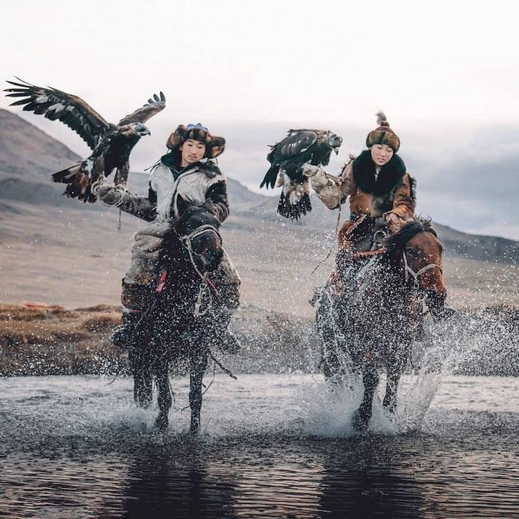 Two Mongolian Eagle Hunters