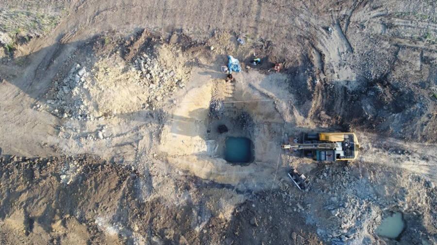 Aerial Shot Of Ostrov Excavation Site