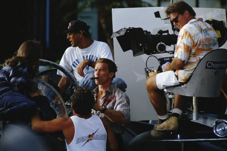 Arnold Schwarzenegger Filming True Lies