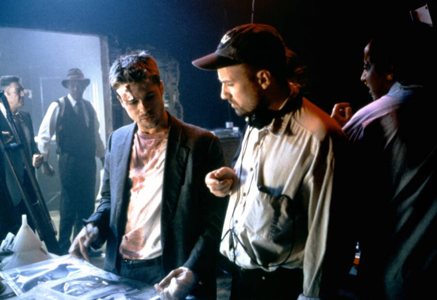 Brad Pitt And David Fincher Filming Seven