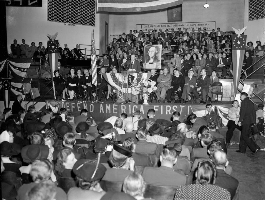 Charles Lindbergh Speaking At America First Committee Meeting