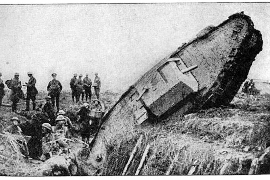 A World War 1 Tank Stuck In A Trench