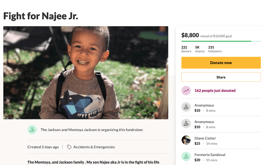 Go Fund Me For Najee Jackson Jr