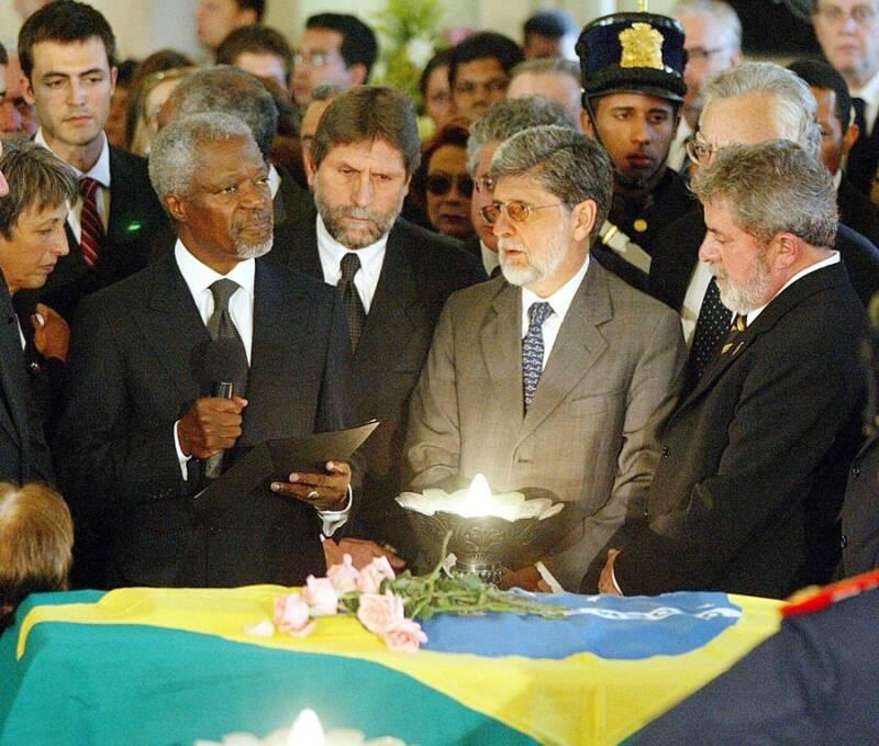 Kofi Annan At Vieira De Mellos Funeral