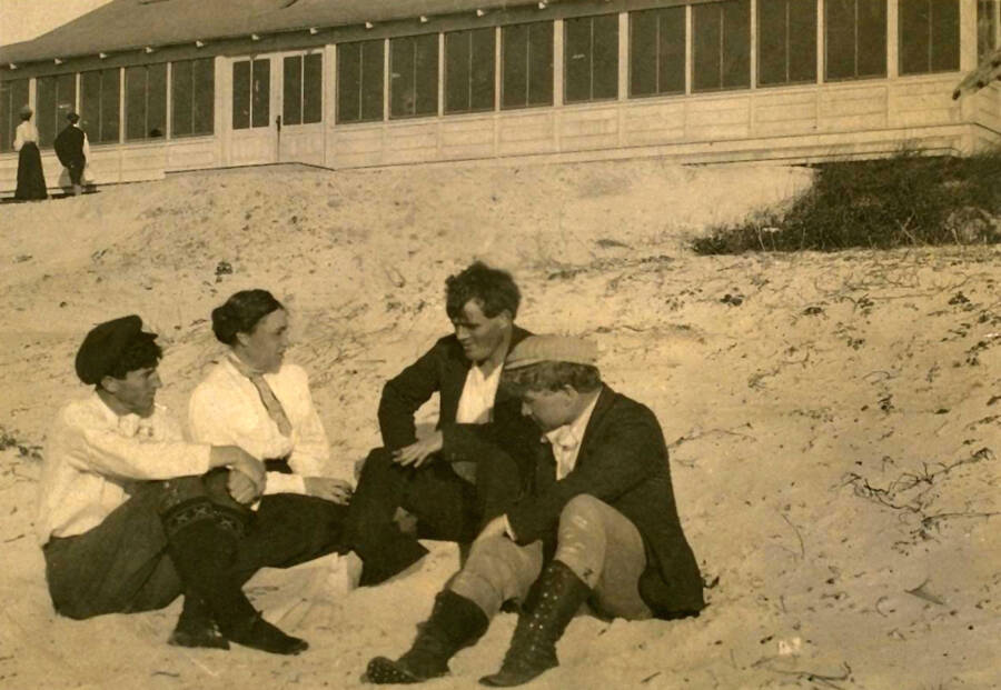 Jack London With Friends On The Beach