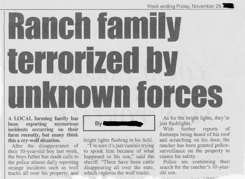 Skinwalker Ranch Newspaper Clipping