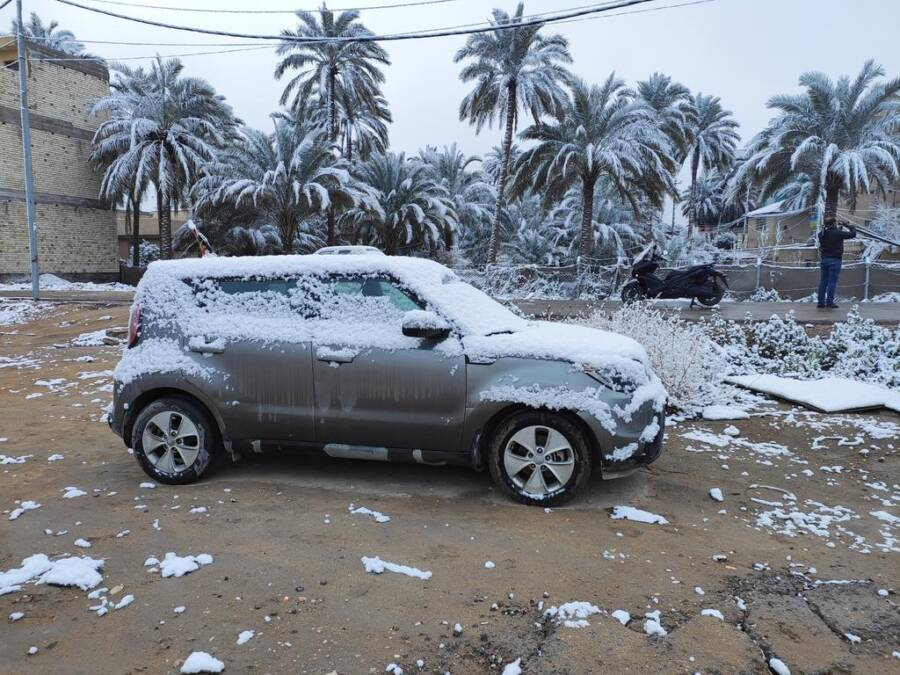 Snowy Car In Iraq