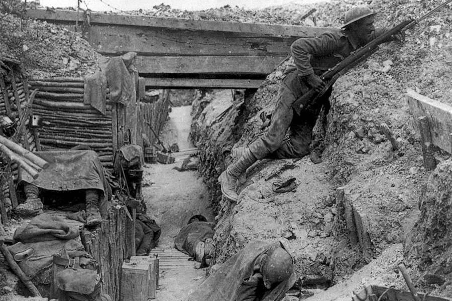 British Soldier In A Trench During The Battle Of The Somne