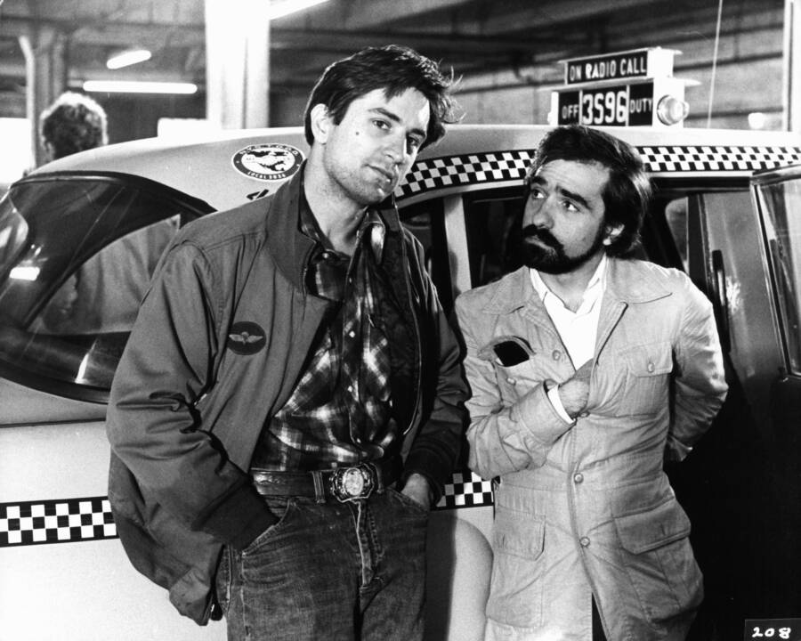 Taxi Driver Set With Robert Deniro And Martin Scorcese
