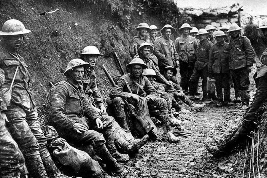 Soldiers Posing For A Photo In A Trench During Battle Of The Somne