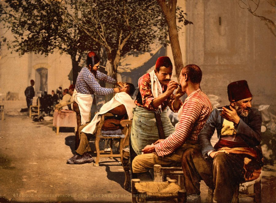 Photochrom Of Barbers In Constantinople