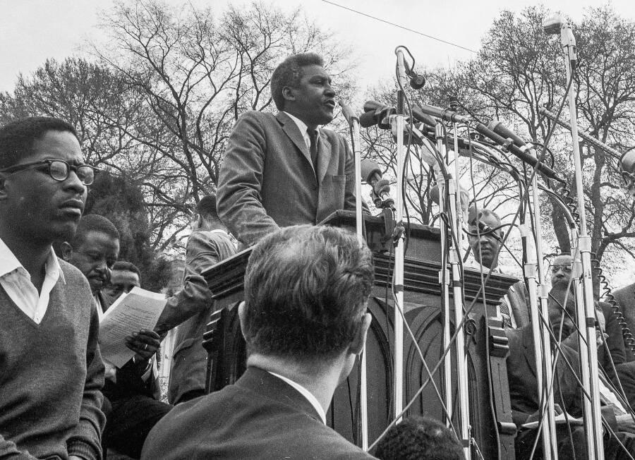 Bayard Rustin Addressing A Crowd