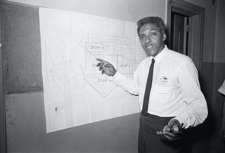 Bayard Rustin Pointing To A Map