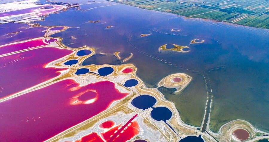 Yuncheng Salt Lake And Its Breathtaking Rainbow Of Colored Algae
