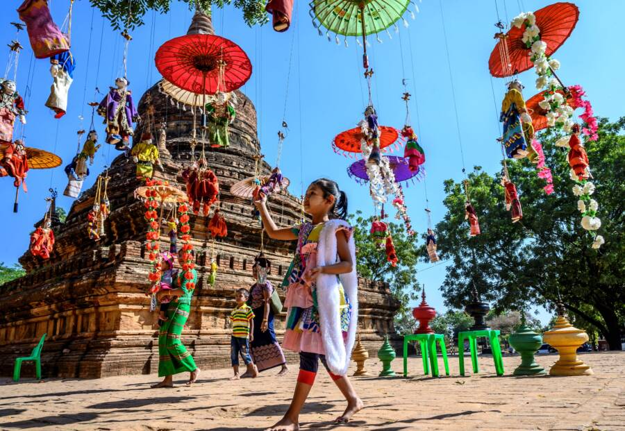 Girl In Front Of A Bagan Temple