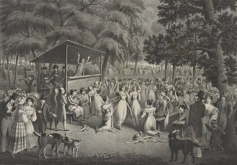 Illustration Of Women Gathered By A Stage