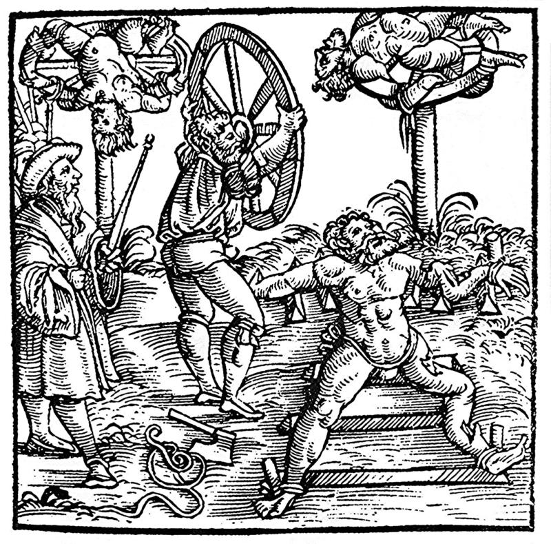 Illustration Of Men On Medieval Breaking Wheel