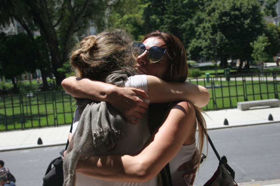 Natacha Jaitt Hugging A Supporter