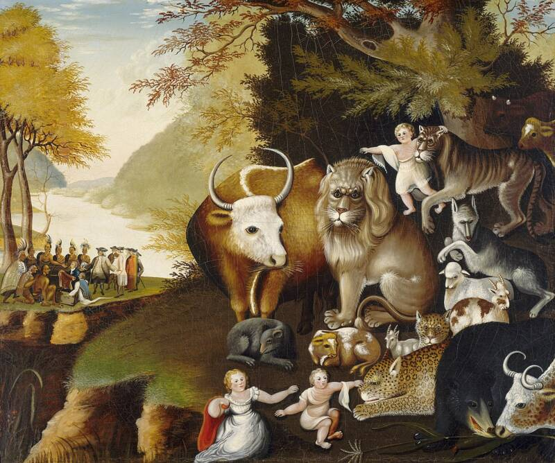 Painting Of Cows And Cupids In An Idyllic Garden