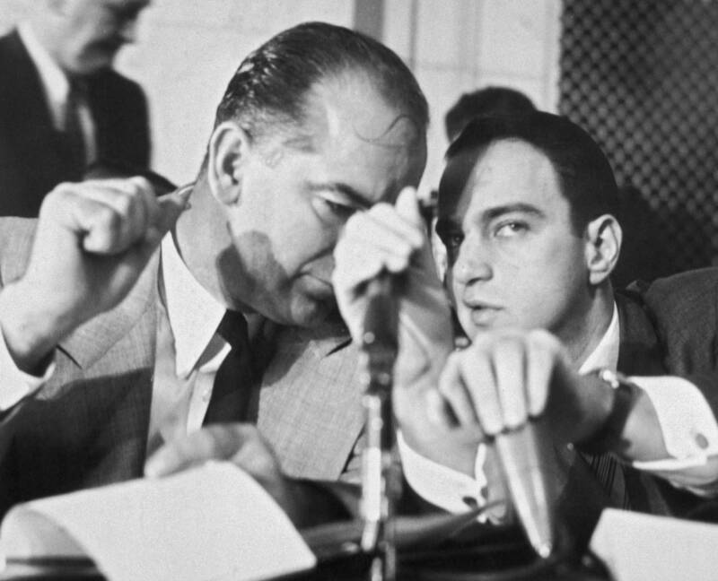 Roy Cohn Whispers To Joseph Mccarthy