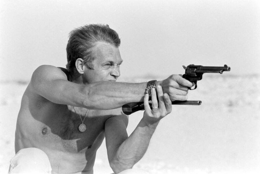 Shirtless Steve Mcqueen Shooting A Gun