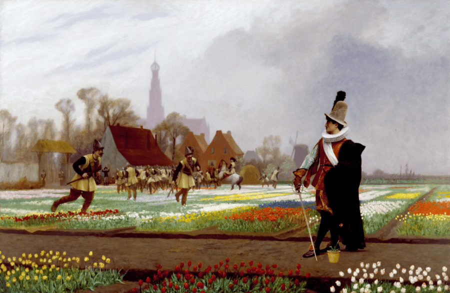 Painting Of Men Harvesting Tulips