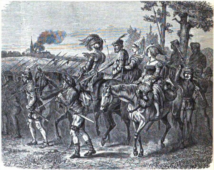 Wandering Peasants On Horseback During 1525 Revolt