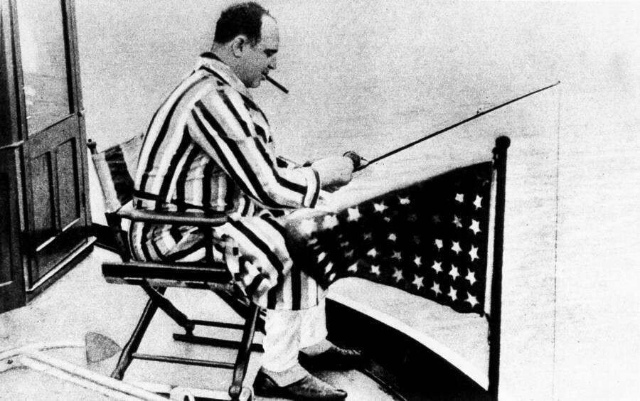 Al Capone Fishing In A Robe