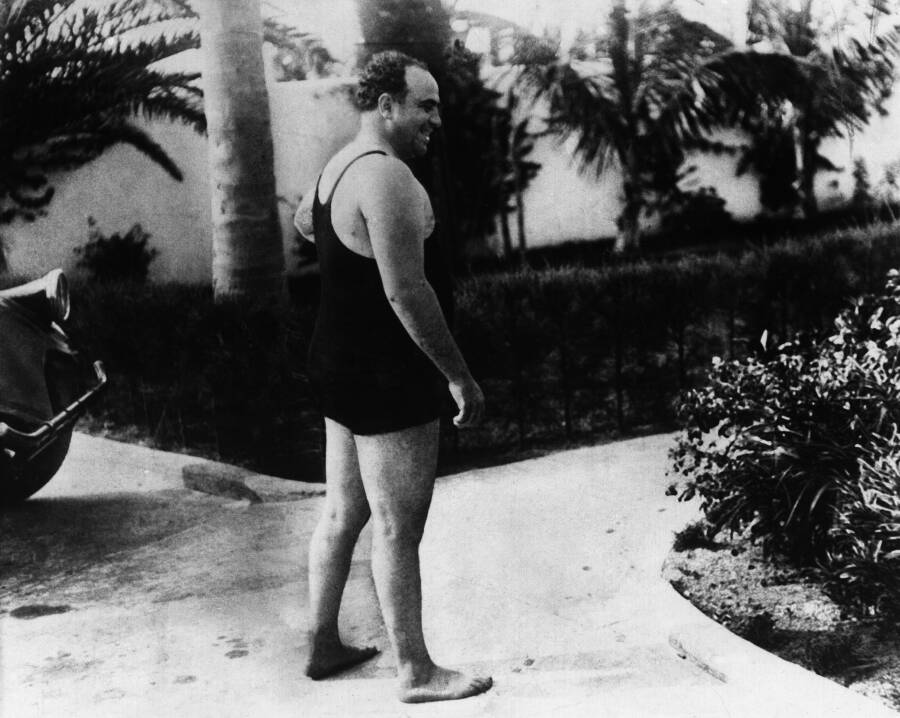 Al Capone Laughing While Wearing A Bathing Suit