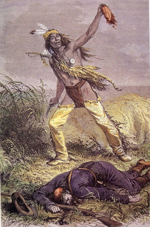 Illustration Of An Apache Holding A Scalp