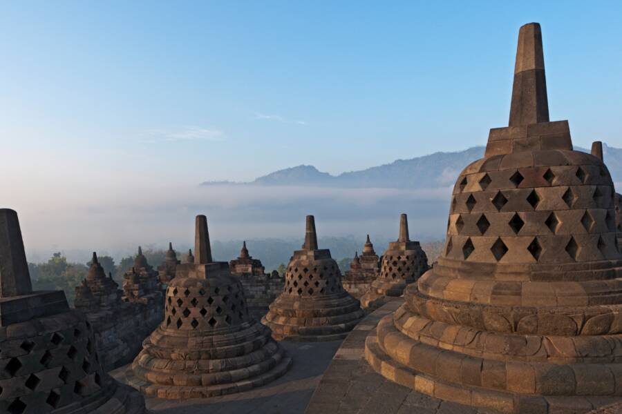 Buddhist Stupas At Buddha Statue At Borobudur Temple