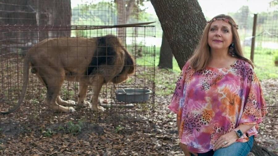 Carole Baskin With A Lion