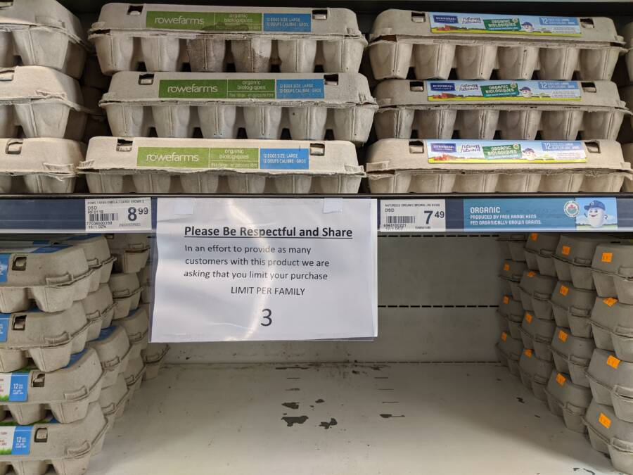 Emtpy Supermarket Egg Shelves