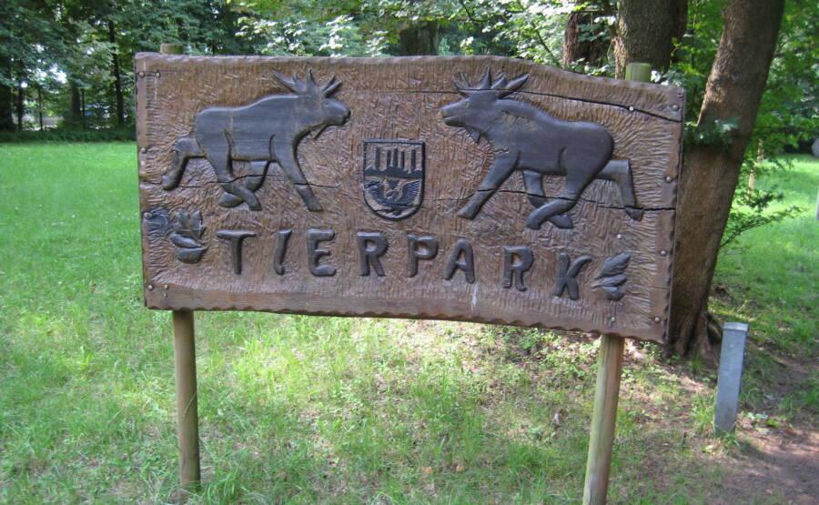 Entrance Sign Of Tierpark Neumunster