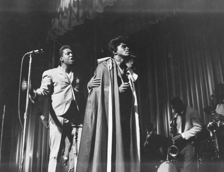 James Brown In A Cape On Stage
