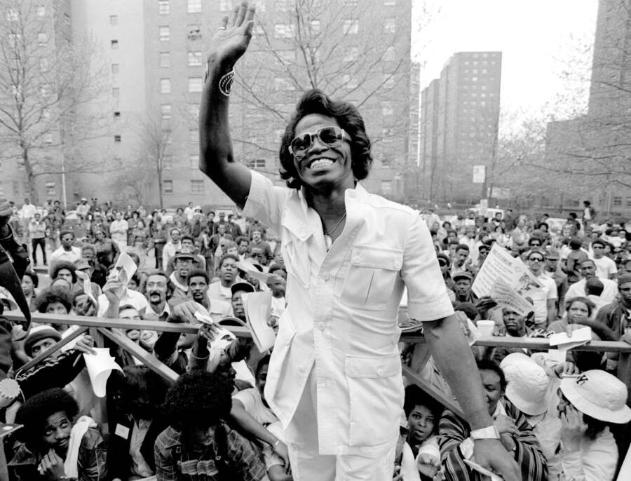 James Brown Visiting Fans In Harlem