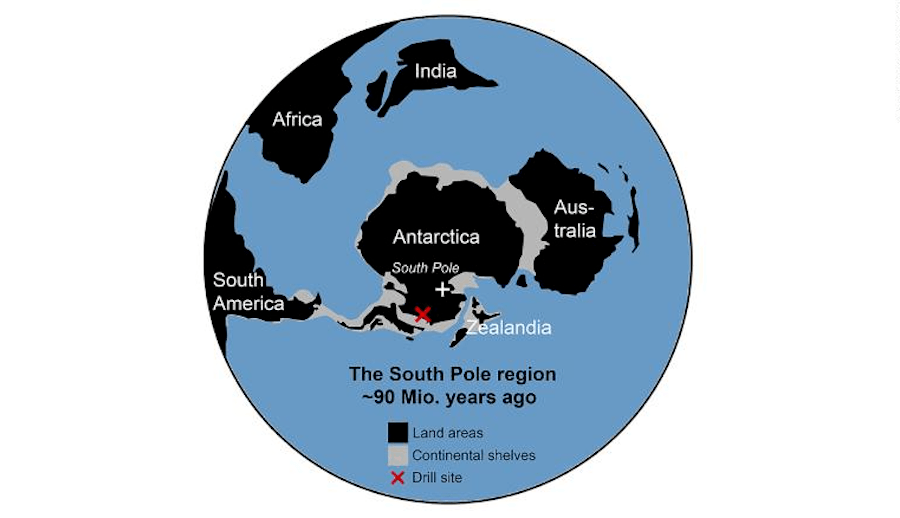 Map Of South Pole Region 90 Million Years Ago