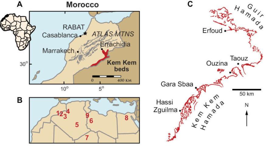 Map Of The Saraha Kem Kem Formation