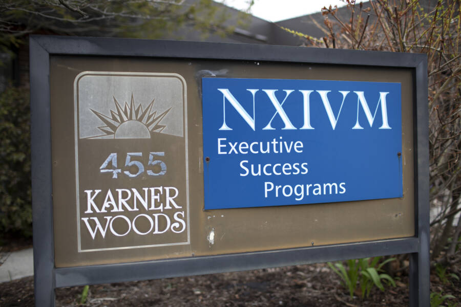 Nxivm Sign At Albany Headquarters