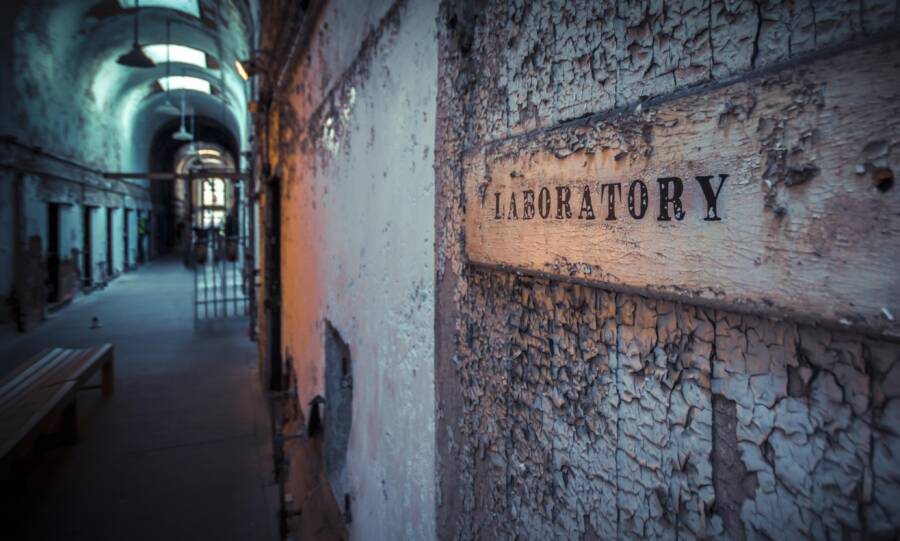 Old Prison Laboratory Sign