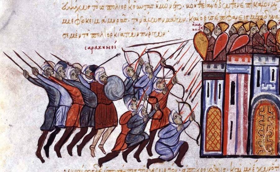 Painting Of Byzantine Archer Lancers