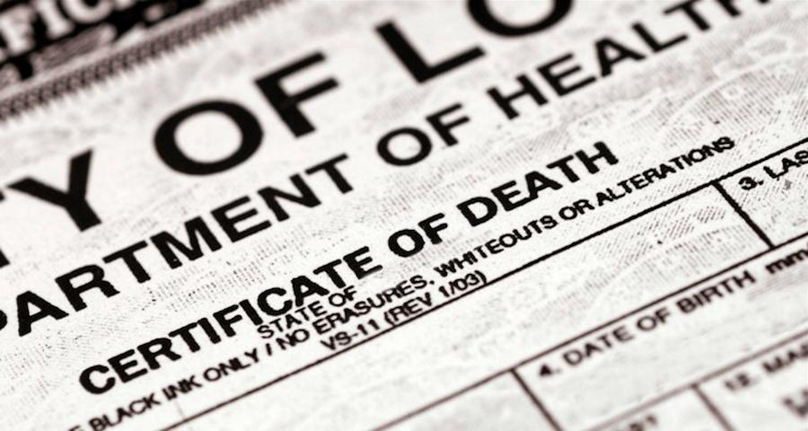Standard Death Certificate Up Close