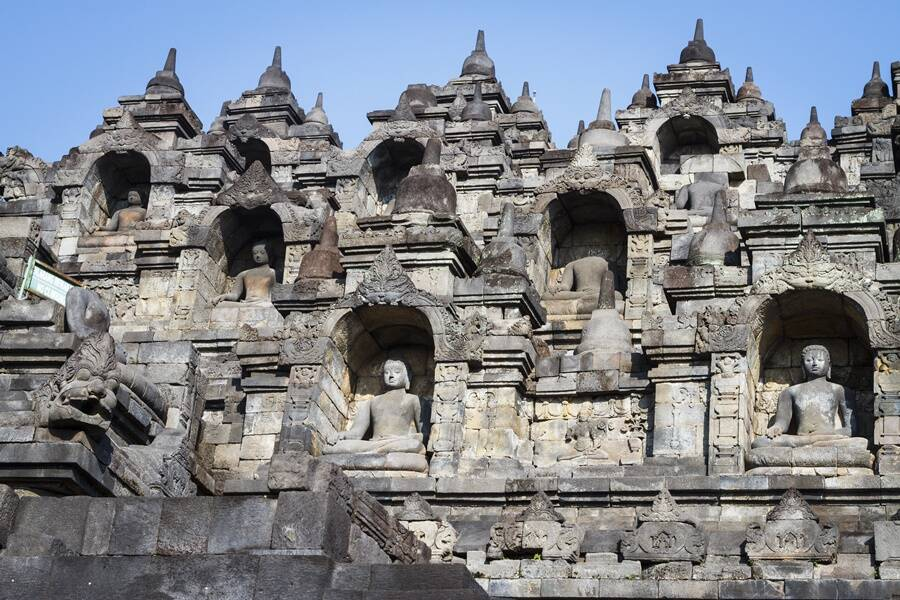 Statues Of Buddha At Borobudur